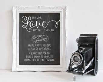 Bucket List, Bride and Groom, Wedding Reception, Advice, Leave a Note, Chalkboard Sign, Printable Sign, Print on Your Own, Instant Download