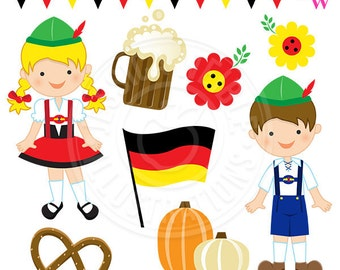 Lederhosen Kids Cute Digital Clipart, Oktoberfest Kids, Oktoberfest Clip Art, Germany Graphics, Autumn Fall Clipart, Pretzel, Pumpkins Image