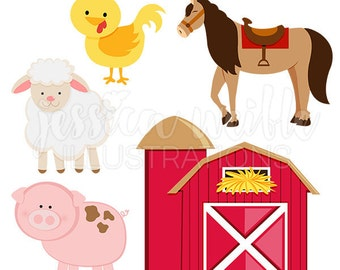 Barn Yard Animals Cute Digital Clipart, Barn Clip art, Farm Graphics, Farm Animal Illustration, #268