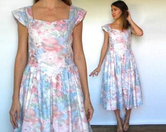 Vintage 80s Pastel Floral Dress | Pink White Party Prom Dress, Medium