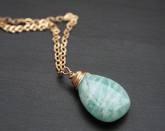 Amazonite Necklace, Gemstone Jewelry, Gold Necklace