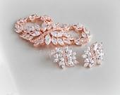 Rose Gold Bracelet and Earrings, Cubic Zirconia Bridal Set, Crystal Bridal Bracelet - EMERSON