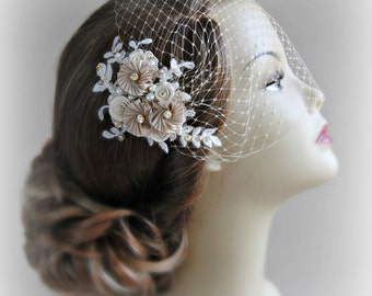 Champagne Lace Fascinator and Birdcage Veil Set, Ivory, White or Champagne, Bridal Fascinator, Bandeau Veil with Crystals, Pearls - ODETTE