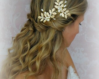 Gold Leaves Hair Pins, Wedding Hair Pins with Pearls, Crystals, Fern Leaf, Greek Goddess, Bobbies, Boho Pin Set - CALISTA