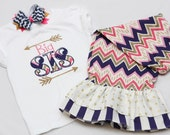 Big Sister Shirt and Matching Ruffle Pants - With Coordinating Hairbow - Chevron Arrows