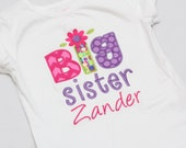Personalized Big Sister Flower Shirt - Big sister shirt