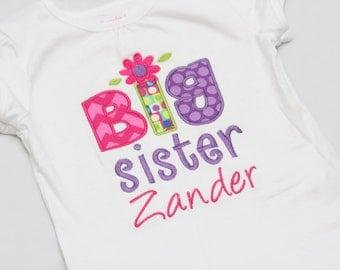 Personalized Big Sister Flower Shirt - Big sister shirt