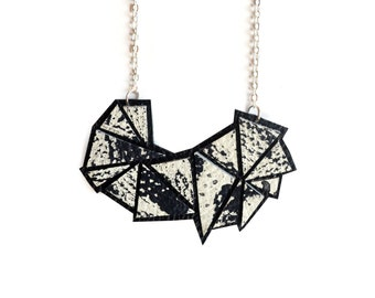 Geometric Necklace, Black and White Necklace, Abstract Leather Necklace, Paint Splatter Necklace, Modern Necklace, Geometric Jewelry