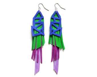 Fringe Leather Earrings, Colorful Geometric Earrings, Purple Green Earrings, Color Block Earrings, Long Fringe Earrings, Statement Earrings
