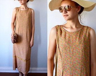 Vintage Casual Dress, 1980s Dress, April Cornell, Gold Floral Dress, Summer Dress, Cottge Chic, Vintage Dresses