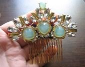 Decorative hair comb | gold | wedding | bridal | aquamarine