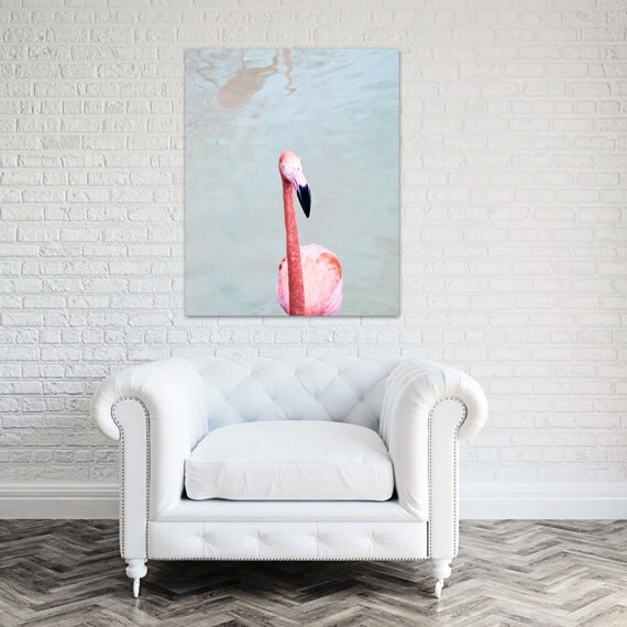 Flamingo Canvas Art Coral Bathroom Decor Pink By Theginghamowl