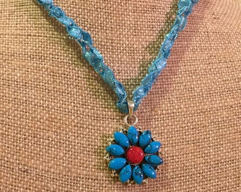 Sterling Silver Coral and Turquoise Gemstone Pendant Necklace