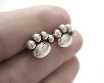 Paw Print Earrings - Sterling Silver Cat Earrings - Dog Jewelry - Cat Jewelry - Cat Stud Earrings - Animal Stud Earrings - Dog Stud Earrings