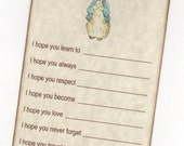 10 Peter Rabbit Wish Cards, Baby Shower Wish Advice Card Tags For Baby Boy Or Girl - Vintage Style