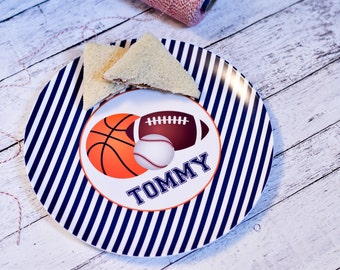 Personalized Melamine Plate / Personalized Sports Plate / Personalized Plates for kids / Kids Personalized Plate Sports Lover Design / Sport
