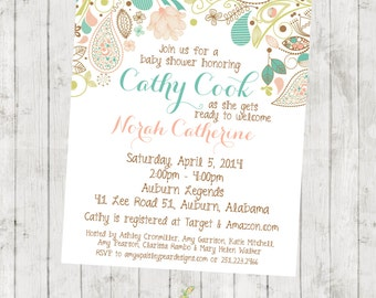 Flourish - Floral - Baby Shower - Invitation - customizable - DIGITAL IMAGE AVAILABLE