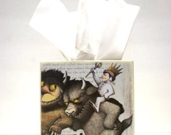 Where The Wild Things Are Tissue Box, Favorite Childhood Story, Stories, Story book, Kleenex Box, Wood Tissue box, Handmade, Wild Things