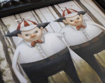 TweedleDee and TweedleDum. Original Oil Painting