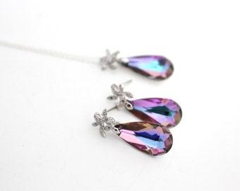Lavender Bridesmaid Earring and Necklace Set, Swarovski Jewelry Set, Vitrail Light, Bridal Jewelry Set, Bridal Necklace and Earrings Set