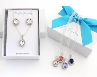 Clear Swarovski Stud Earrings, Best Friend Necklace, Friendship Necklace, 3 Friend Necklace, 3 Best Friends Gift, BFF Necklace, Jewelry Set