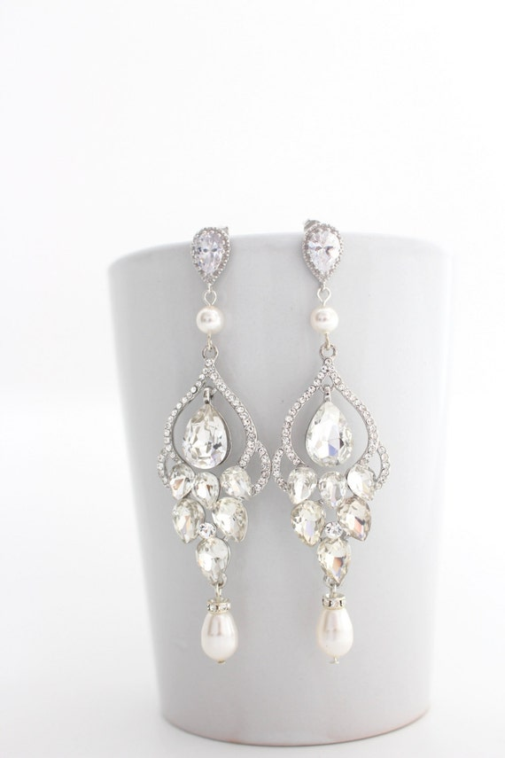 Long Bridal Chandelier Earrings Chandelier by EstyloJewelry