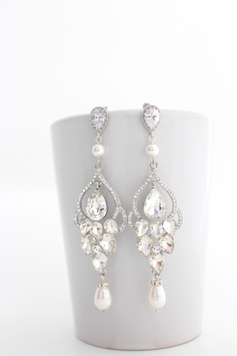 Long Bridal Chandelier Earrings Chandelier Wedding Earrings