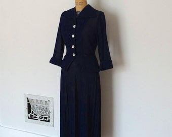 Vintage 1940s Suit - 40s Navy Jersey Knit Set - The Emilie