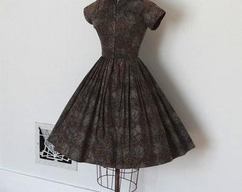 Vintage 50s Dress - 1950s Batik Dress - The Eloise