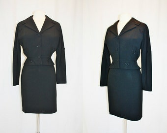 1960's Black Jacket Skirt Peplum  Suit Size 6-8 Small Vintage REtro 60s Hipster Office Youthmore