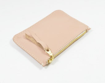 Nude Pink Leather Zip Pouch Purse Wallet Handmade