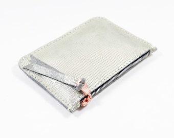 Metallic Silver Leather Zip Pouch Purse Wallet Handmade