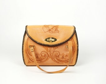 Hand Tooled Leather Purse with EC Monogram