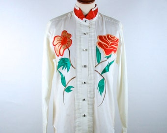 1980's Blouse with Satin Roses and Embroidery by Wranger || Perfect Vintage Condition