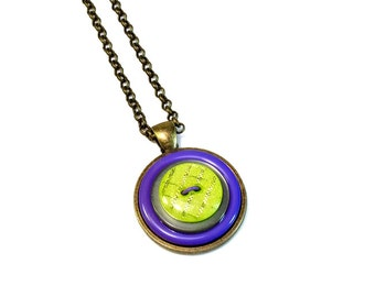 Upcycled Jewelry, Button Necklace Pendant in Purple and Lime Green