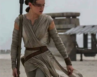 Rey Cosplay Complete Outfit! Custom Made Shirt, Capris, Sleeve Wraps, Gauze Sash, Canvas Pouch, Leather Wrist Band & Belt -Woman/Plus Sizes
