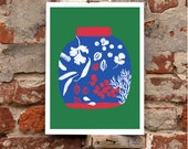 "Spices & Herbs Green - 11""x15"""" Kitchen Art print - archival fine art giclee print"