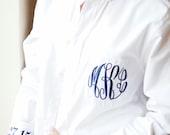 Monogrammed Button Down Bride's Shirt Getting Ready Shirt