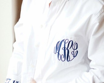 Monogrammed Button Down Bride's Shirt Getting Ready Shirt