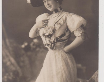 AUSTRALIAN EDWARDIAN STAGE Dancer Saharet by Martin Gerlach in Lovely Gown & Feathered Hat Original Vintage Real Photo Collectible Postcard