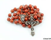 Catholic Rosary Sponge Coral Antique Copper Dark Red Traditional Natural Stone