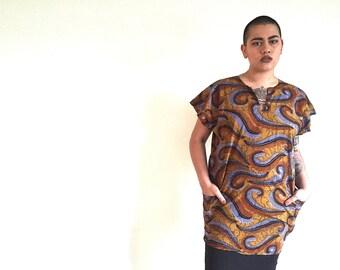 African Batik Print Cotton Shirt Dress Large