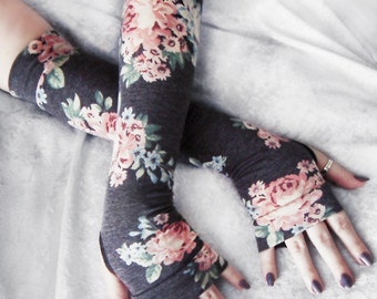 Efflorescent Arm Warmers | Heather Grey Peach Pink Pastel Blue Sage Green Cream Floral Rose | Yoga Gloves Victorian Steampunk Noir Boho Fall
