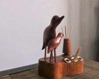 Vintage Carved Wooden Birds Toothpick/ Pen / Pencil Holder