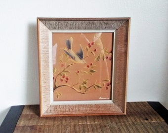 Vintage Framed Blue Bird in a Cherry Tree Watercolor Painting signed Turner