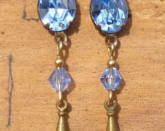 Vintage Light Sapphire Blue Austrian Crystal And Brass Stud Drop Earrings By Sadie Green