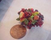 Dollhouse Miniature fluted porcelain bowl of grapes IGMA FELLOW Janet Uyetake