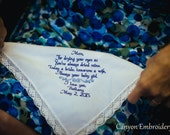 Gift for Mom Embroidered Wedding Handkerchief Mother of the Bride Wedding Gifts Gift for Mom Handkerchief for Mom Mother - Canyon Embroidery