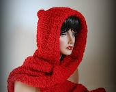 Red Scarf, Red Hood, Women, Men, Red Riding Hood, Red Neckwarmer, Christmas Scarf, Crimson, Scarlet, Snood, Valentines, Winter Accessories