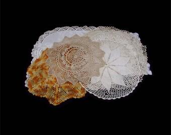 Vintage Doilies, Vintage Doily Lot, Large Doily Lot, Handmade Doilies, Hand Crochet Doily, Doilies Lot, 7 Vintage Doilies, Dresser Scarf